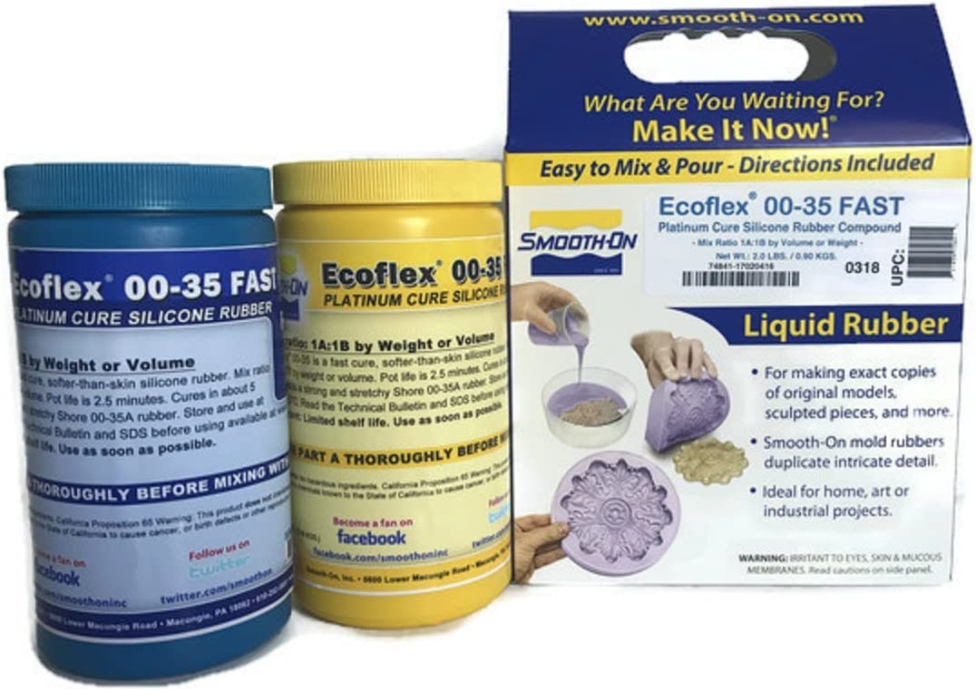 Smooth-On ECOFLEX 00-35 Fast Platinum Cure Silicone Rubber Compound Kit- 2 Lbs