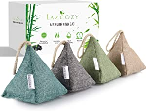 Bamboo Charcoal Air Purifying Bag with Hook, Odor Absorber Activated Charcoal Bags Closet or Shoes Deodorizer Air Fresheners for Kid, Pet, Home, Car 4pcs(4 x 200g)