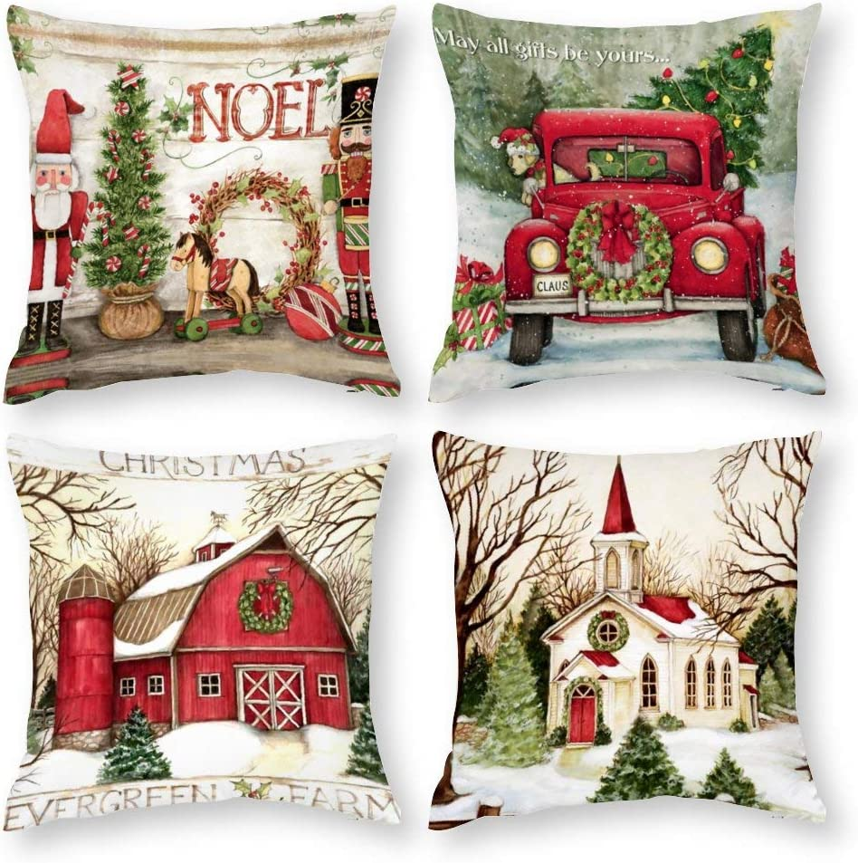 Farmhouse Christmas Pillow Covers 18x18 Set of 4 for Christmas Decor Linen Red Truck Dogs Throw Pillows Nutcrackers Christmas Decorations Throw Pillow Covers for Couch Sofa Bed Living Room