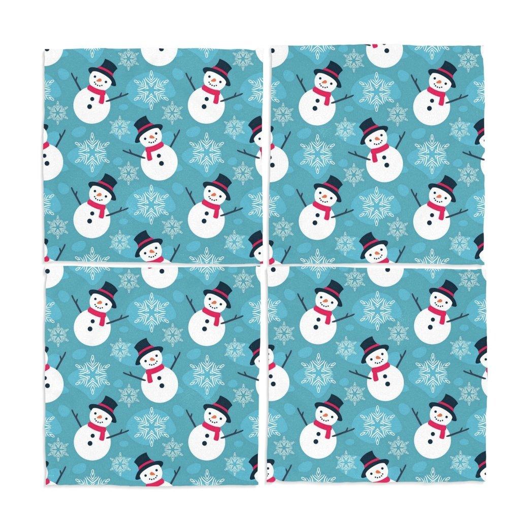 naanle雪だるまスノーフレークWashable Placemats 12 x 12インチのセット4 Placeマットのダイニングテーブル   B01NAO2VHN