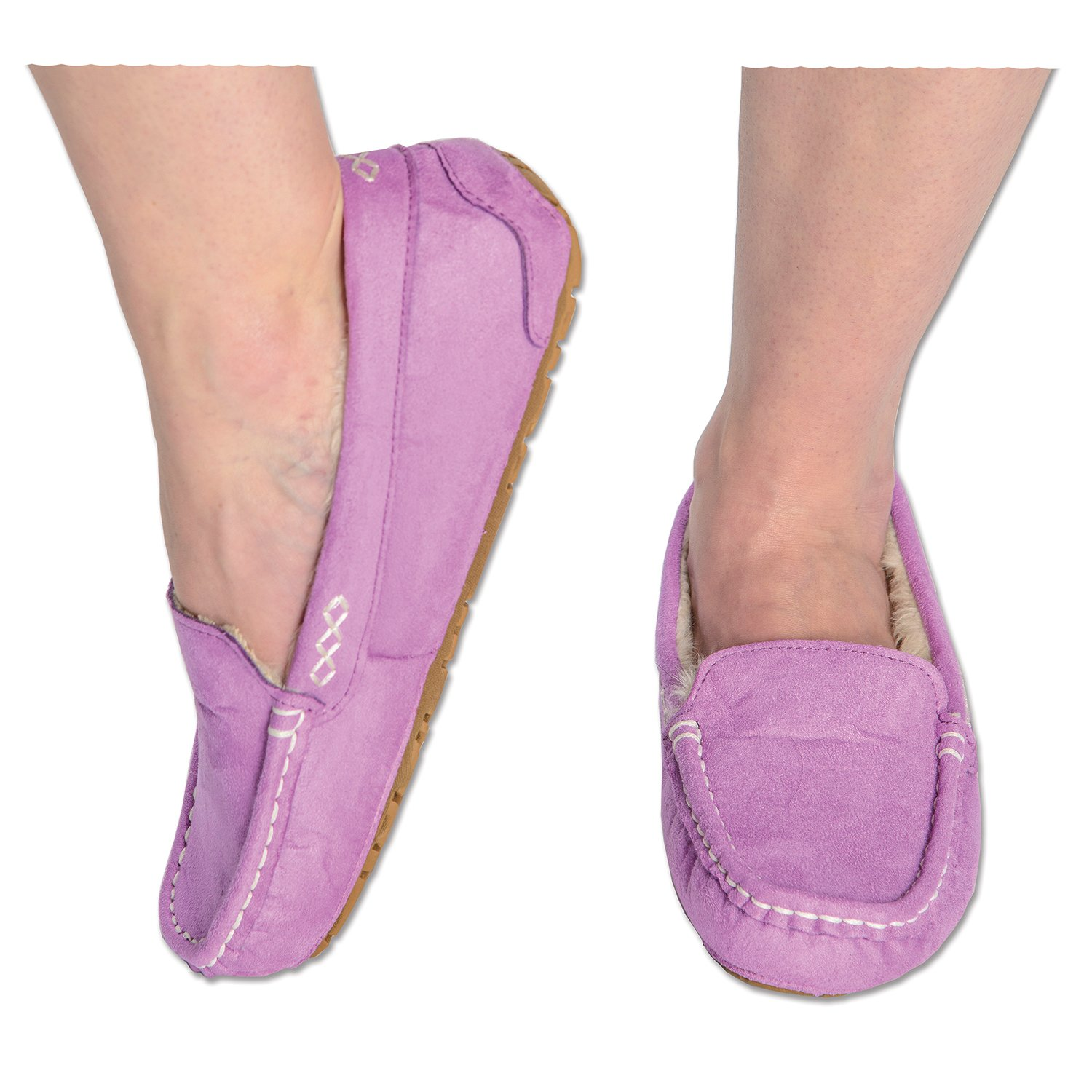 99a2b7fe878 Snoozies Womens Indoor Outdoor Sole Ultra Soft Lining Suede Moccasins  Slippers 60%OFF