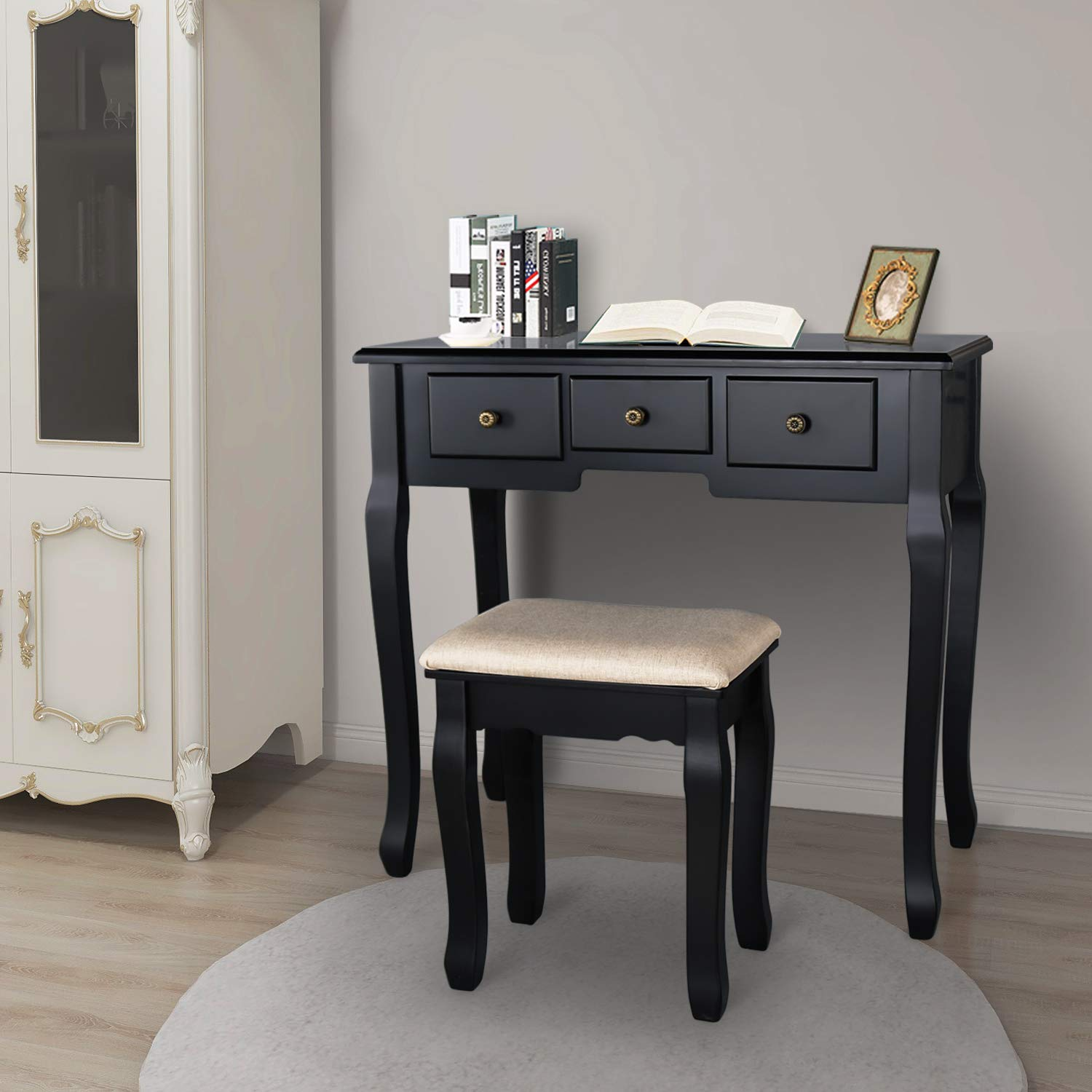 Benyong Vanity Table Set Dressing Table Makeup Set Multi-Functional Writing Desk Removable Top Organizer with 360 Rotating Mirror, 5 Drawers Cushioned Stool Set Black