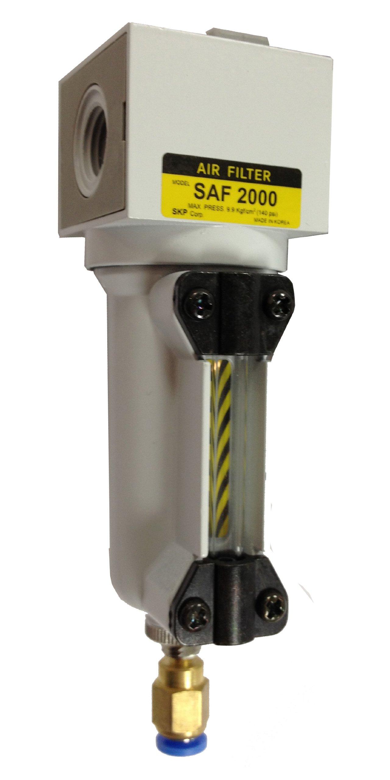 PneumaticPlus SAF2000M-N02BD-MEP Miniature Compressed Air Particulate Filter 1/4'' NPT - Metal Bowl, Auto Drain, Bracket by PneumaticPlus