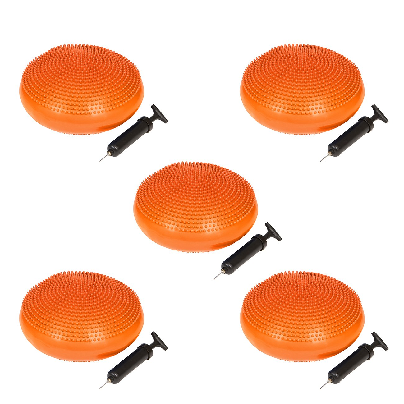 Trademark Innovations PVC Fitness and Balance Disc - 13-Inch Diameter - Set of 5 - (Orange)