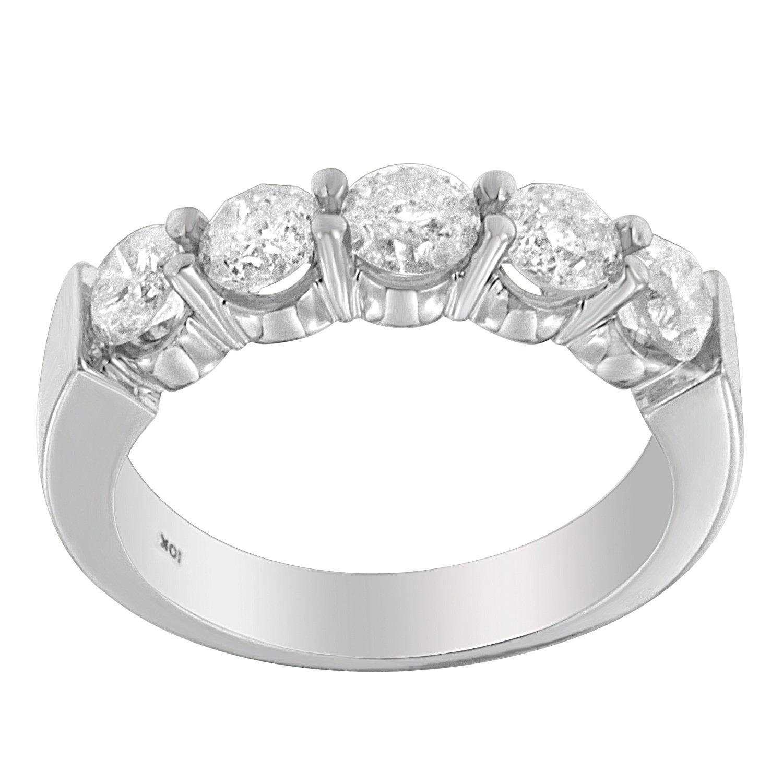10K White Gold Diamond Classic 5-Stone Wedding Band (1 1/2 cttw, H-I Color, I2-I3 Clarity)