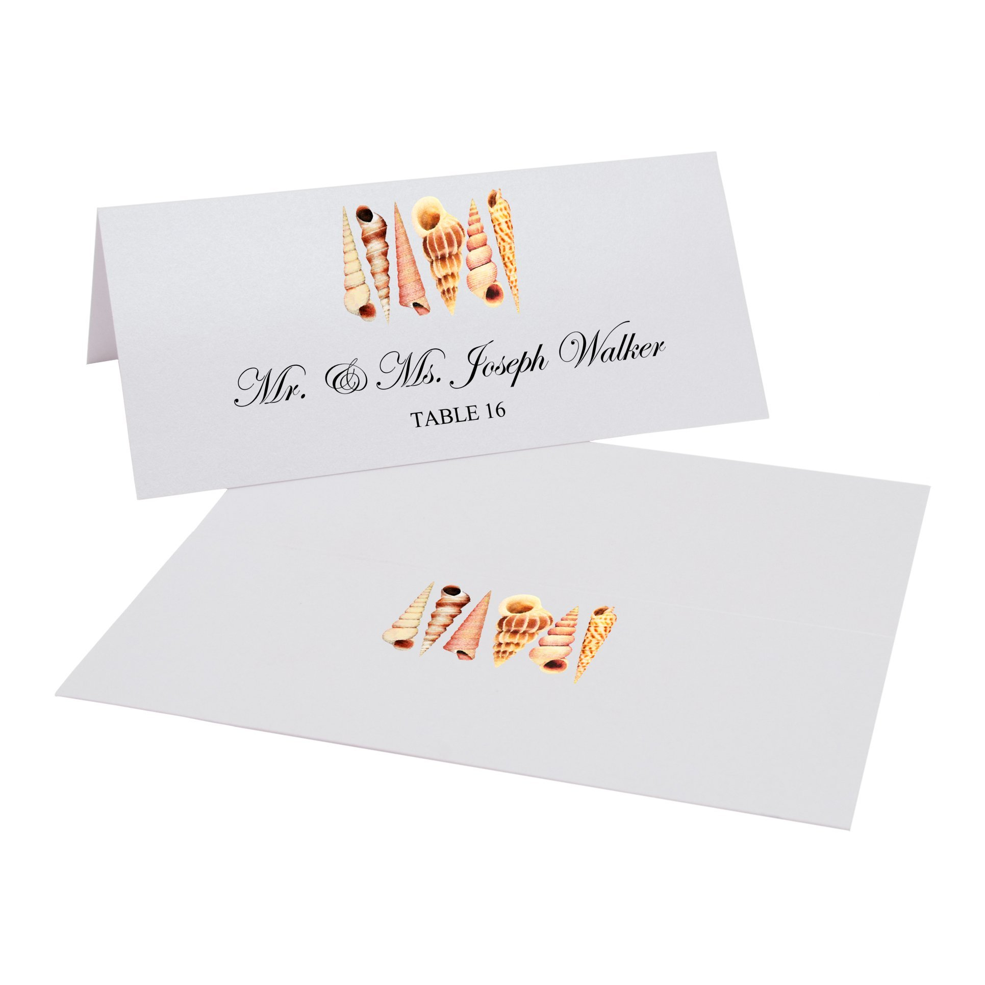 Seashell Pattern Easy Print Place Cards, Pearl White, Set of 350 (88 Sheets) by Documents and Designs