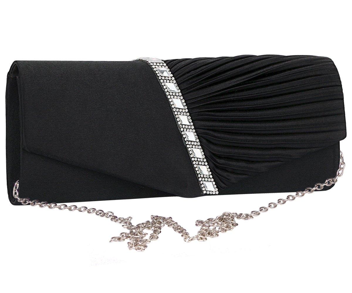 Charming Tailor Evening Handbag Crystal Embellished and Pleated Satin Clutch (Black)