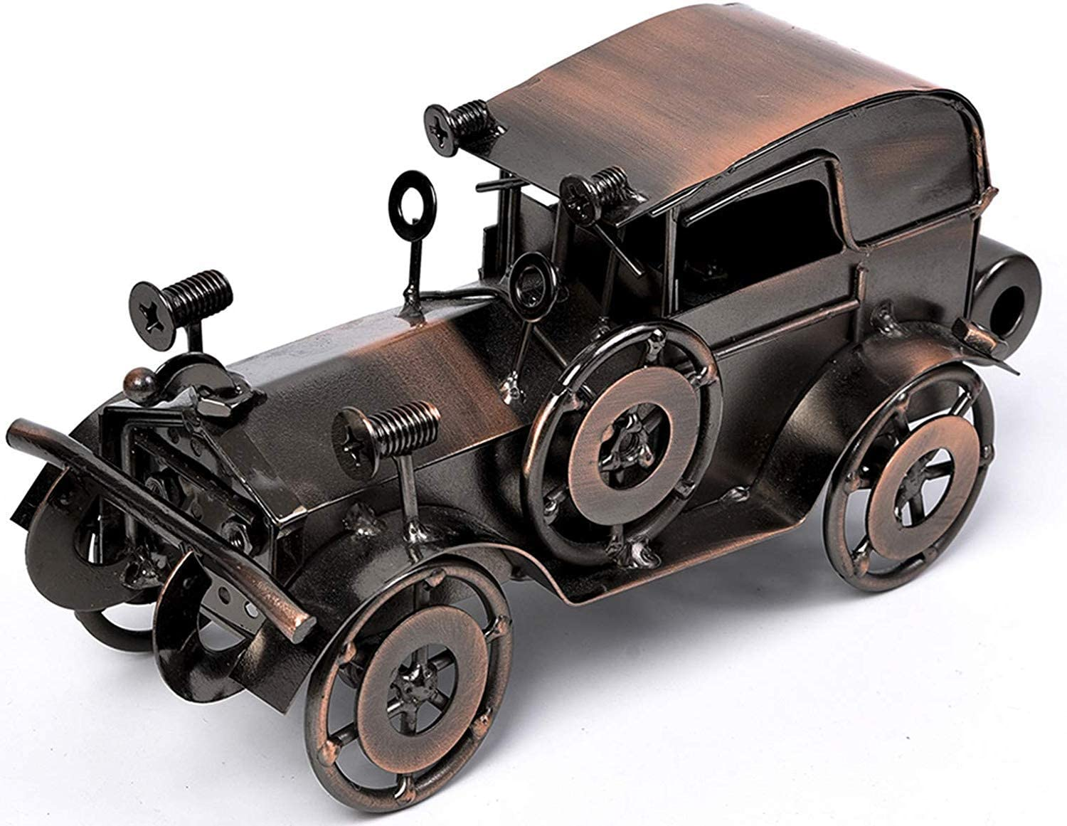 QBOSO Metal Antique Vintage Car Model Handcrafted Collections Collectible Vehicle Toys for Bar or Home Decor Decoration Great BirthdayGift Bronze Classic Car Model, Large