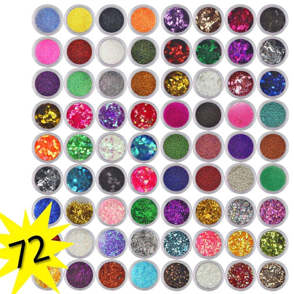 HitHopKing Acrylic Powder, 72 Colors Acrylic Powder Set for Nail Art 3D DIY Tips Decoration.Glitter Nail SequinsColorful Mixed Festival Glitter Cosmetic Face Hair Body Glitter 3D Nail Art by HitHopKing