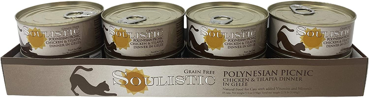 Soulistic Polynesian Picnic Chicken & Tilapia Dinner in Gelee Wet Cat Food, 5.5 oz., Case of 8, 8 X 5.5 OZ