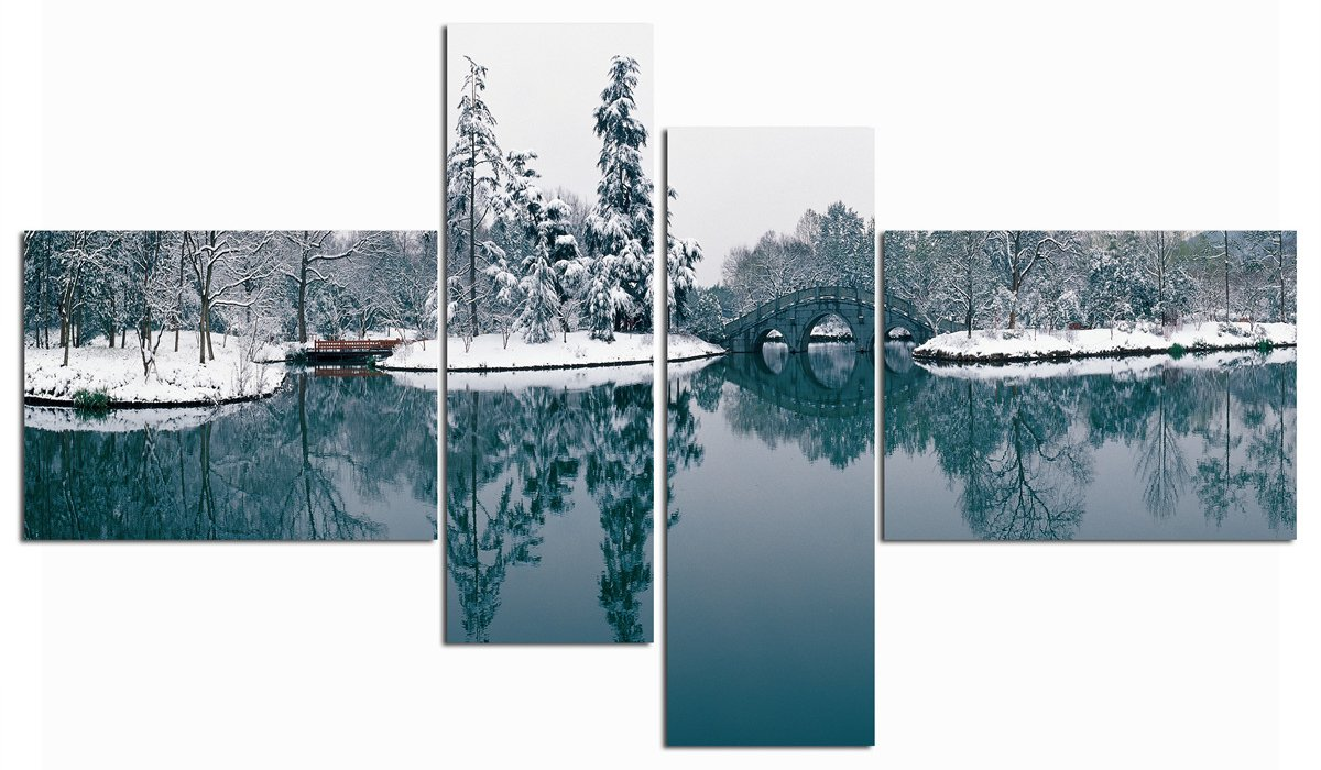 Modern Wall Art Painting Home Decor Living Room Canvas Spray Good Picture Tree Bridge Snow In Winter Impressionist Gift Framed (40x30cm2&20x60cm2(Framed),Grey)