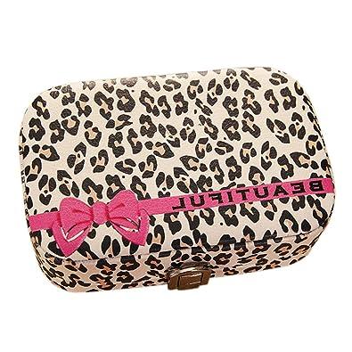 0b54c34538683 Oldlila Leopard Pattern Women Jewelry Box Travel Jewelry Organizer for  Necklaces Earrings Rings Bracelets Lipstick Makeup