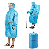 Overmont raincoat poncho waterproof raincoat lightweight with cap for bike riding and hiking camping fluorescent