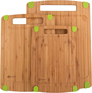 Zenware 3 Piece Triple-Ply Warp Resistant All Natural Bamboo Cutting Board with Juice Groove