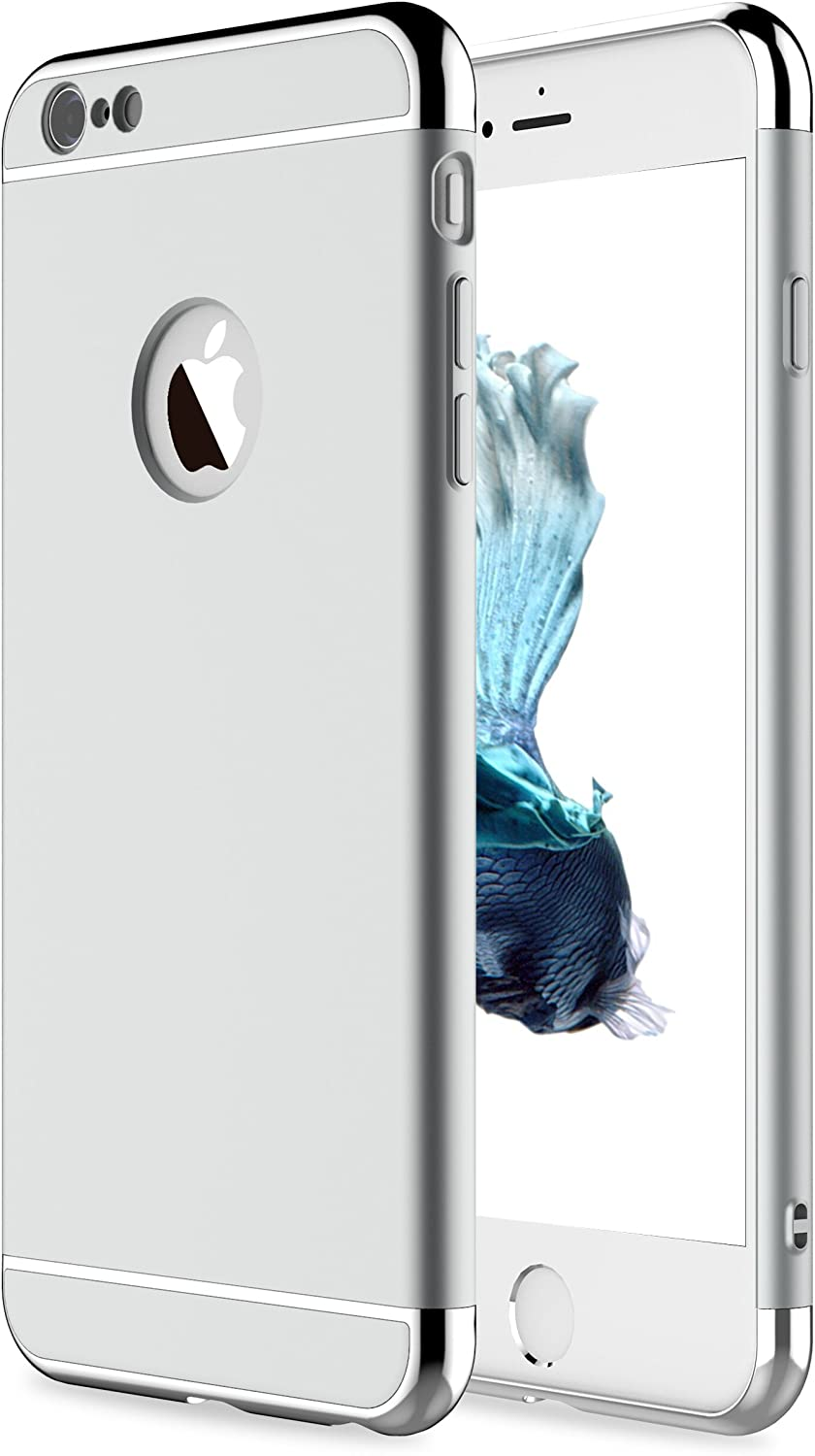 """RORSOU iPhone 6 Case, iPhone 6s Case, 3 in 1 Ultra Thin and Slim Hard Case Coated Non Slip Matte Surface with Electroplate Frame for Apple iPhone 6 (4.7"""") and iPhone 6S (4.7"""") - Silver"""