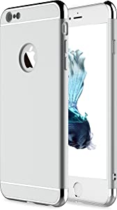 "RORSOU iPhone 6 Case, iPhone 6s Case, 3 in 1 Ultra Thin and Slim Hard Case Coated Non Slip Matte Surface with Electroplate Frame for Apple iPhone 6 (4.7"") and iPhone 6S (4.7"") - Silver"