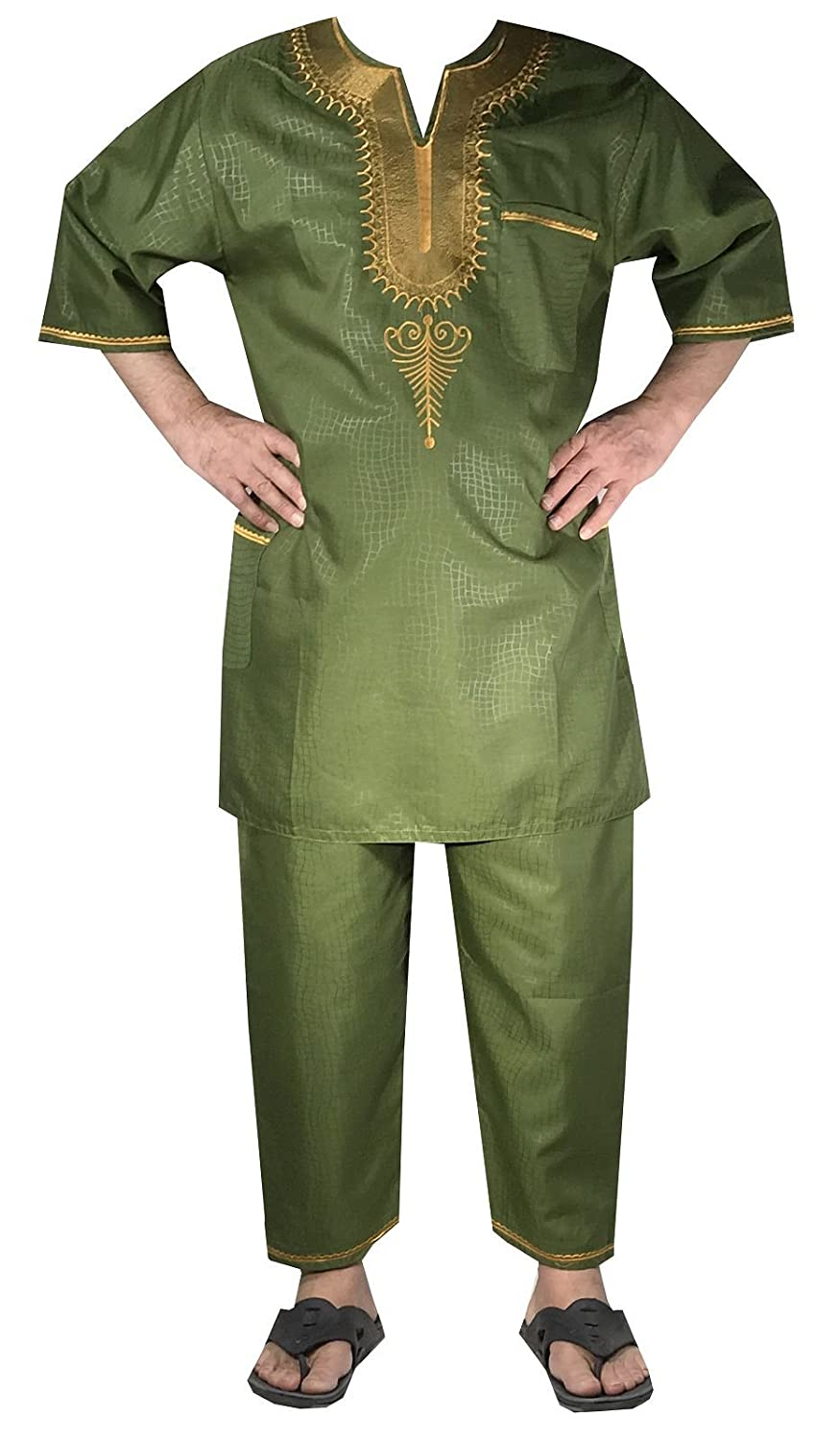 DecoraApparel African Traditional Men Suit Ethnic Clothing Brocade Pant Set, One Size Green Gold) 311380530808
