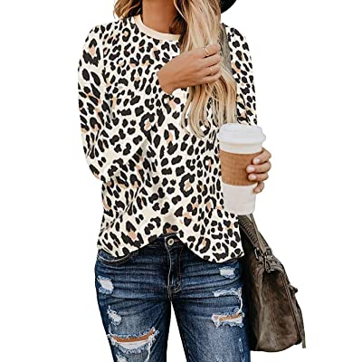 BTFBM Women's Leopard Print Long Sleeve Crew Neck Fit Casual Sweatshirt Pullover Tops Shirts at Women's Clothing store