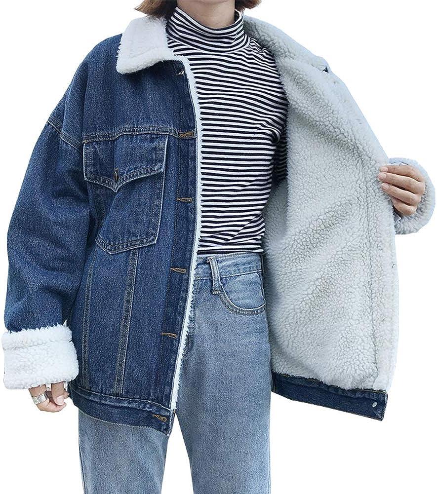 LifeShe Womens BF Winter Faux Fur Collar Fleece Lined Denim Jean Jacket Coats Plus Size 2XL