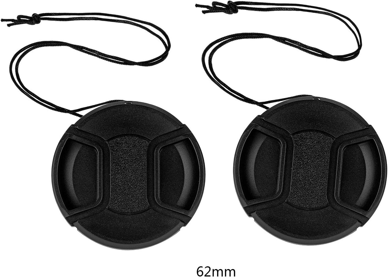 tinxi® Pack de 2 62mm Tapa Objetivo Universal Lens Cap Protector de cámara Frontal, Negro para Canon Nikon Sony Olympus Fuji Panasonic Samsung y Otros Lentes de DSLR: Amazon.es: Electrónica