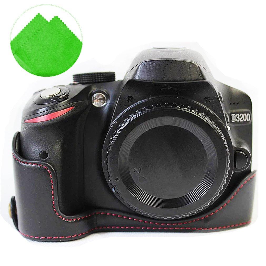 First2savvv xjd-d3200-d01 negro base de piel media cubierta cámara ...