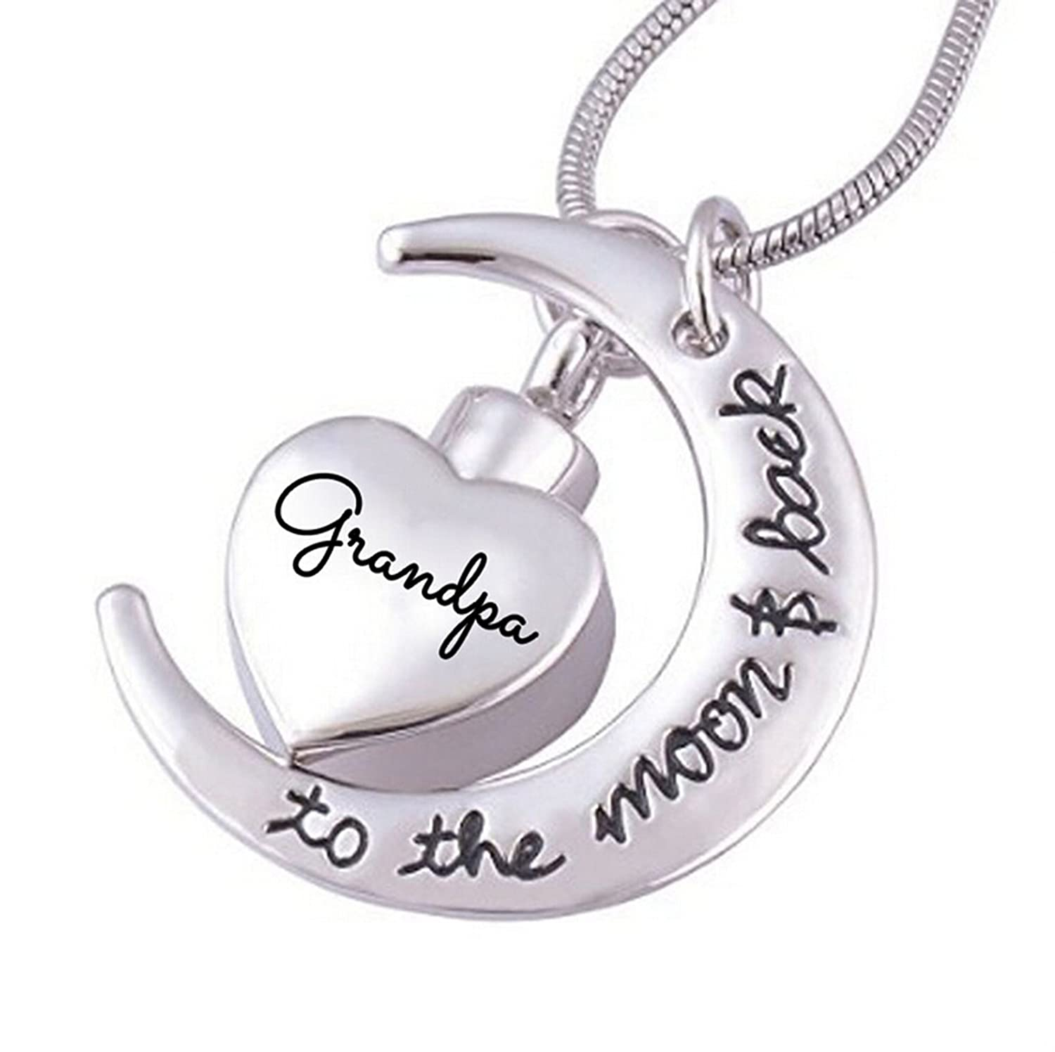 Beydodo Stainless Steel Memorial Necklace UrnEngravedAshes Necklace Heart Crescent Cremation Jewelry