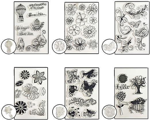 Starplast Pack 6 Sellos de silicona, diseños variados, para scrapbooking, decoración: Amazon.es: Hogar