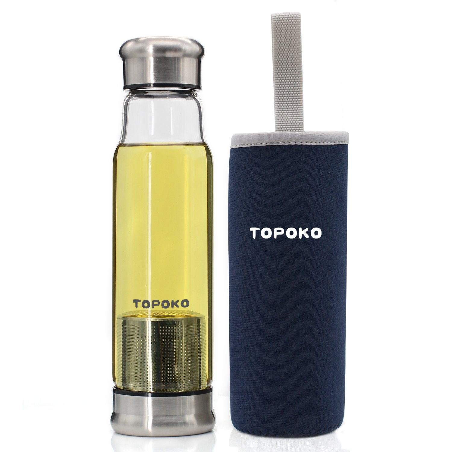 TOPOKO 18.5 Oz Glass Tea Infuser Travel Mug with Strainer and Nylon Sleeve. Borosilicate Glass Bottle for Loose Leaf Tea, Cold Brew Coffee, Fruit. Tea Cup with Stainless Steel Mesh Filter. (Blue)