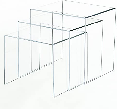 Homcom Table Basse Gigogne Acrylique Lot De 3 Tables Transparentes Amazon Fr Cuisine Maison