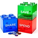 Save Spend Share Piggy Bank for Kids - Clear Transparent Plastic Coin Banks for Boys & Girls - Teach Children About Giving & Saving Money - Block Banks by Maxwill