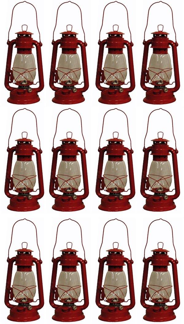 Shop4Omni Red Hurricane Kerosene Oil Lantern Emergency Hanging Light Lamp – 12 Inches