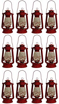 Shop4Omni Red Hurricane Kerosene Oil Lantern Emergency Hanging Light Lamp – 12 Inches