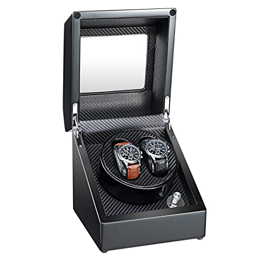Aublan Wooden Double Automatic Watch Winder Storage Boxes For 2