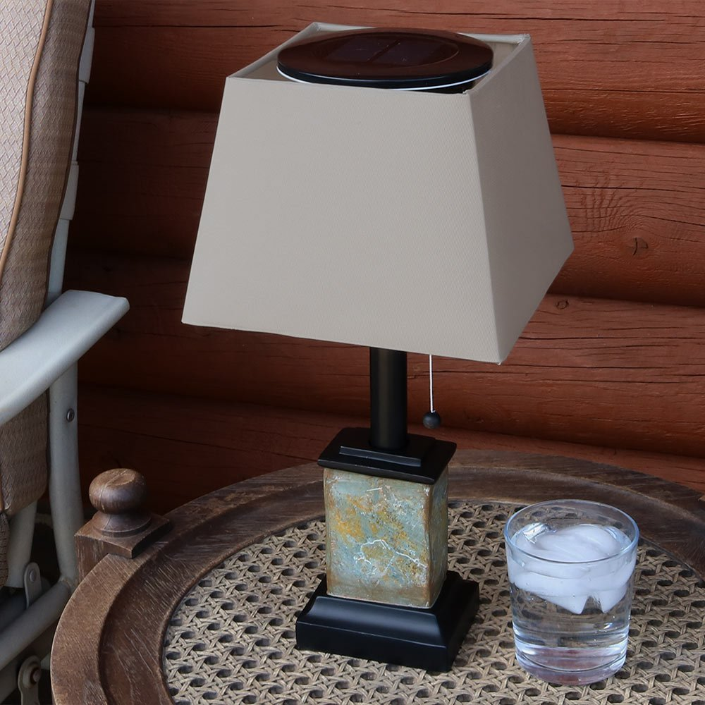 Sunnydaze Outdoor Solar Table Lamp, Contemporary Square Slate, Weather Resistant and Cordless, 16 Inch by Sunnydaze Decor (Image #2)