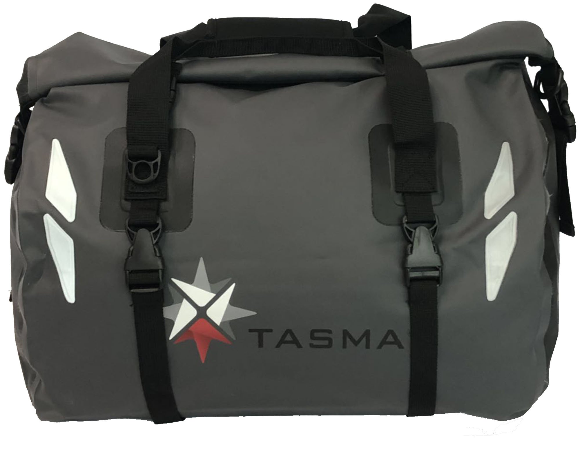 Tasma Waterproof Duffel Bag 45L with Roll Top | Non-PVC, Ultrasonic Welded Seams, Carry Handles with Padded Velcro Cover, Adjustable Paddled Shoulder Strap (Dark Grey)