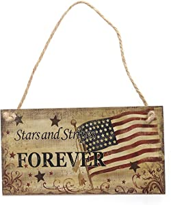 BinaryABC 4th of July Wooden Sign Plaque Door Wall Hanging Decorations, Fourth of July Independence Day Party Decorations