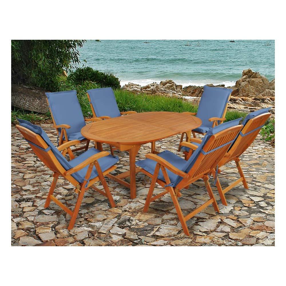 Indoba Premium Gartenmöbel Set 13-teilig Gartenset inkl, Auflagen blau - Tisch (Ausziehbar) Gartenstühle (verstellbar) Gartenmöbelset