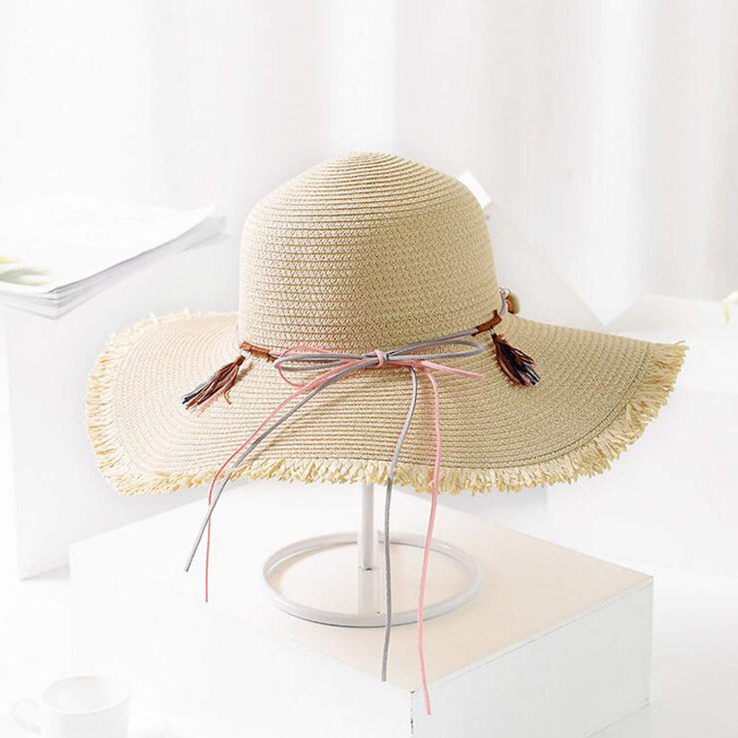 916ee74c8 Cyose Fashion Vintage Bow Decoration Straw Hats Floppy Wide Large ...