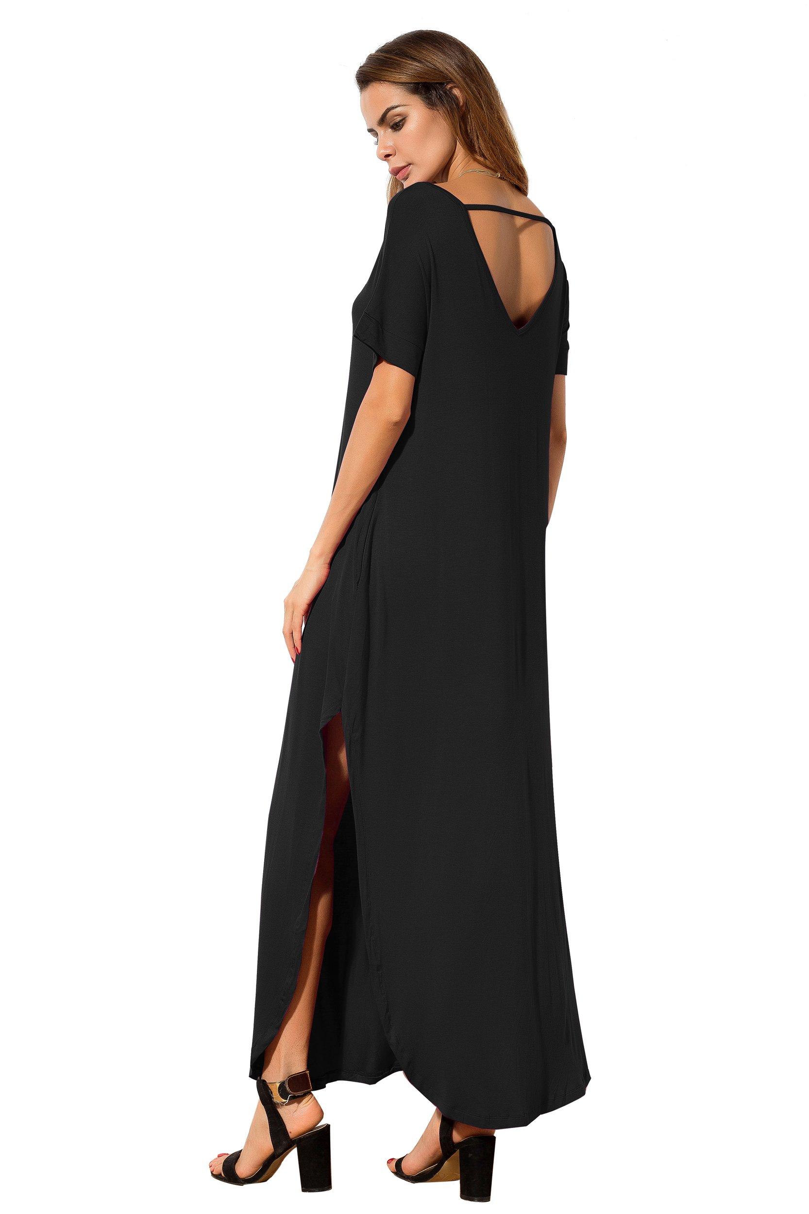 d856e391e6c ... Women s Casual Loose Pocket Long Dress Short Sleeve Split Maxi Dresses.  Sale!
