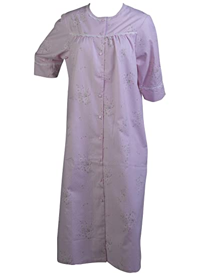 c303f5790a7 Ladies Floral Seersucker Dressing Gown Easy Fastening Poppers Lace Trim  Bath Robe UK 12 14
