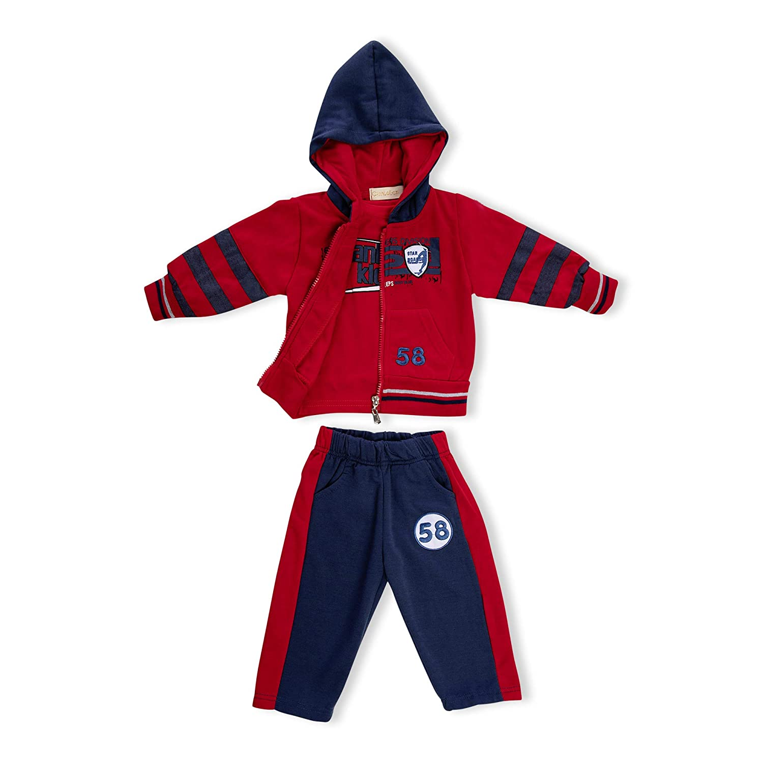 3pc Toddler baby boys Girls Mickey Outfit Hooded coat+T shirt+pants clothes set