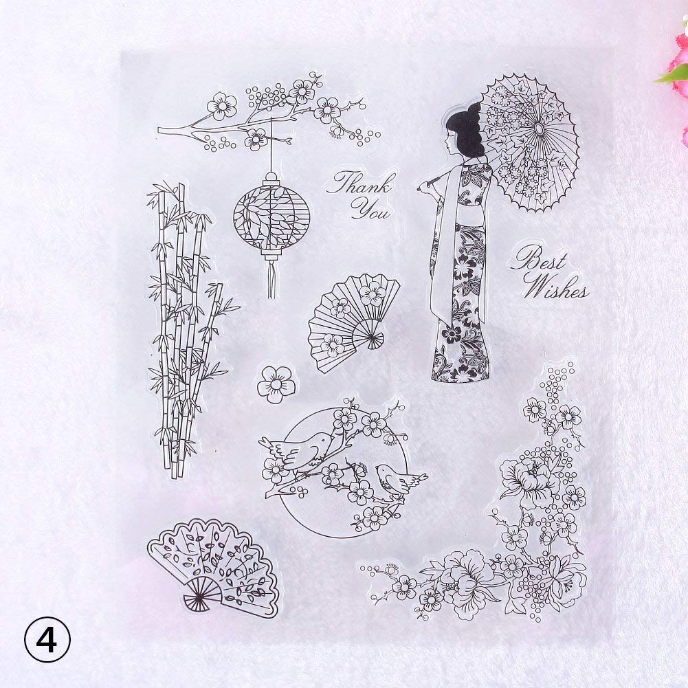 Tcplyn Premium Quality Artistic Graffiti Flower Pattern Transparent Rubber Stamp Seal DIY Album Craft Scrapbooking Decoration,Artistic Graffit & 10