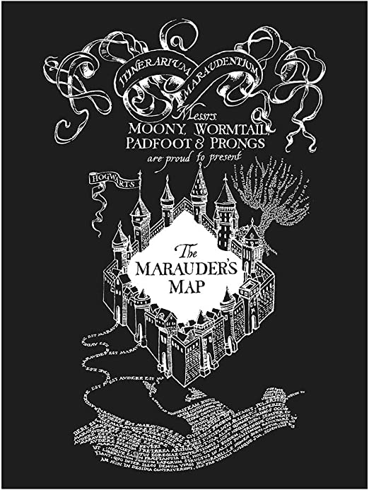 Inked and Screened Sci-Fi /& Fantasy Design Art Poster Moria Map Chalkboard