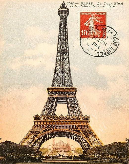 4 Eiffel Tower prints white metal 20 x 10 mm