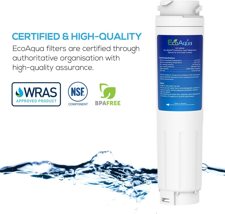 1 EcoAqua Compatibile Bosch UltraClarity 644845 Frigo Filtro