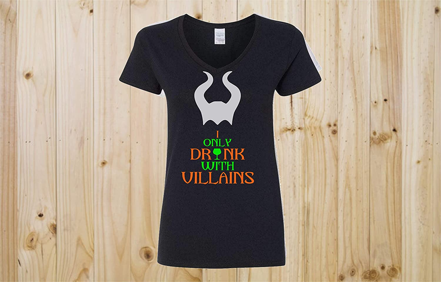 I Only Drink With Villains Maleficent Wine Glass Epcot Disney V Neck Women's Tee Vacation Holiday Reunion Event