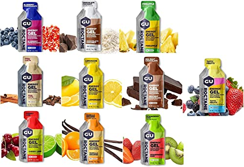 GU Energy Roctane Variety 10 Flavors Ultra Endurance Energy Gel HIGH Intensity Aminos Caffeine Electrolytes