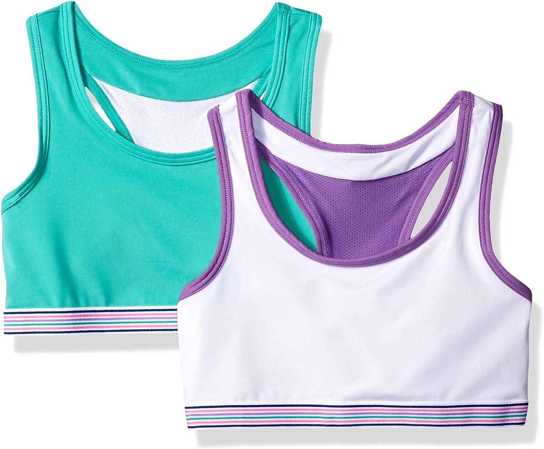 Hanes Big Girls Comfort Flex Fit Wide Strap Seamless Racerback 2-Pack Bra