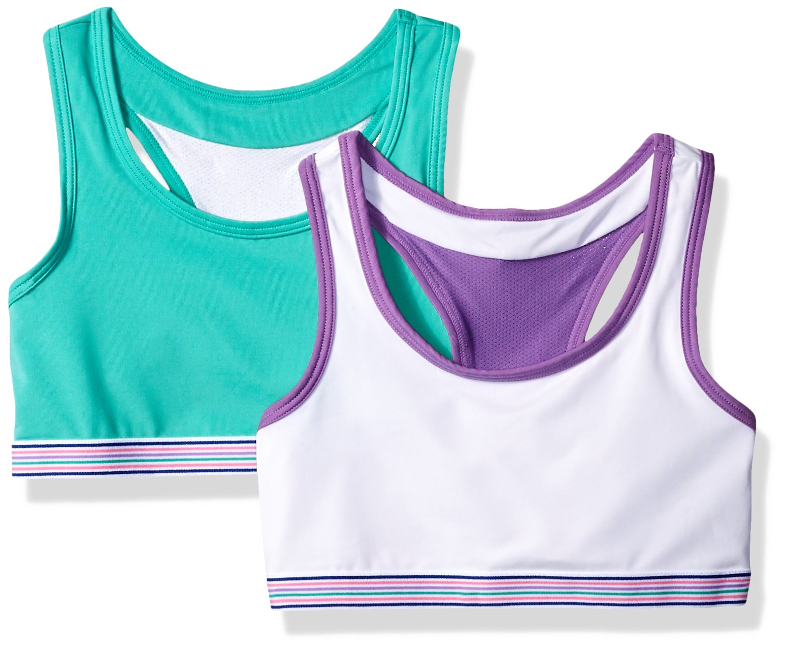 Hanes Big Girls' Comfort Flex Fit Wide Strap Seamless Racerback 2-Pack, True Teal with White/White with Spring Purple, Small