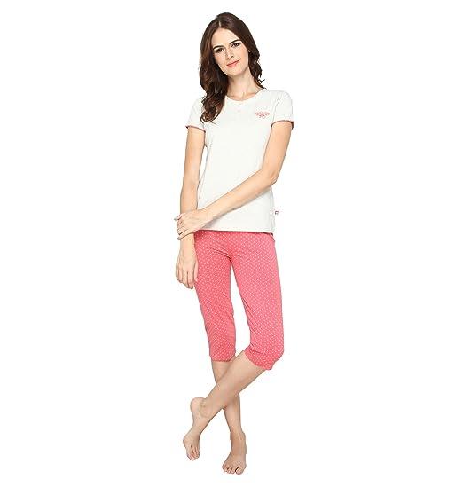 4a31820518 Nightwear for Women - Night Suit - Summer Wear - Top & Capri Combo Set -  Sinker Material - Beige and Peach Color - Short Sleeves - Branded Valentine  Women's ...